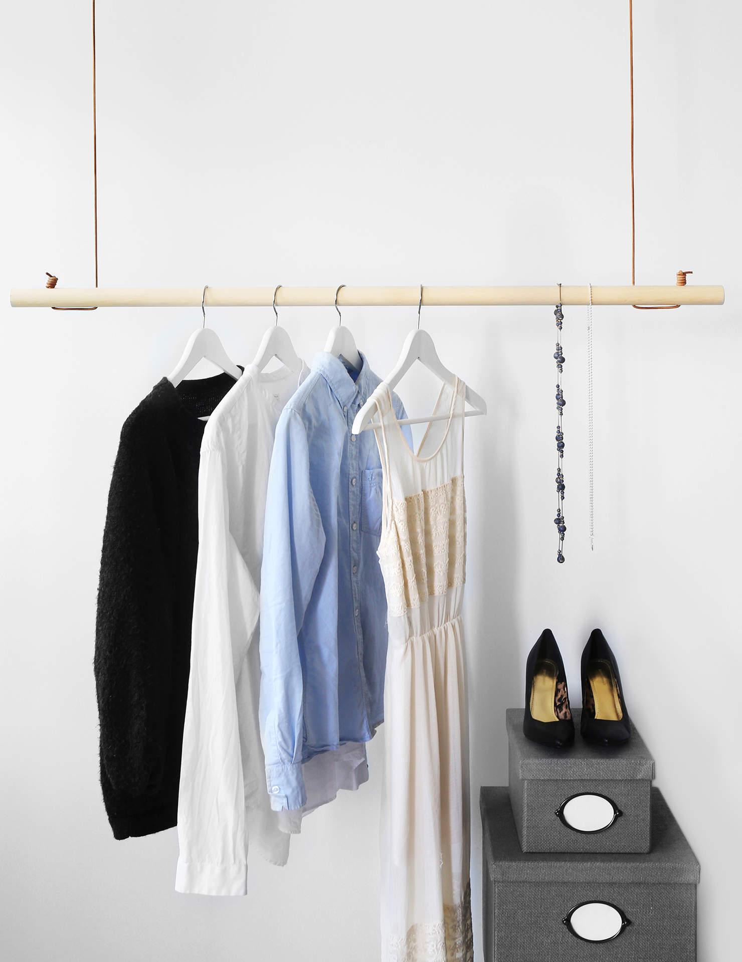 DIY Bygg trendiga klädhängaren av rundstav och läder u2013 på bara 20 min Gör det själv DIY