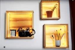 En vägghylla med belysning, på Hemmafixbloggen.se