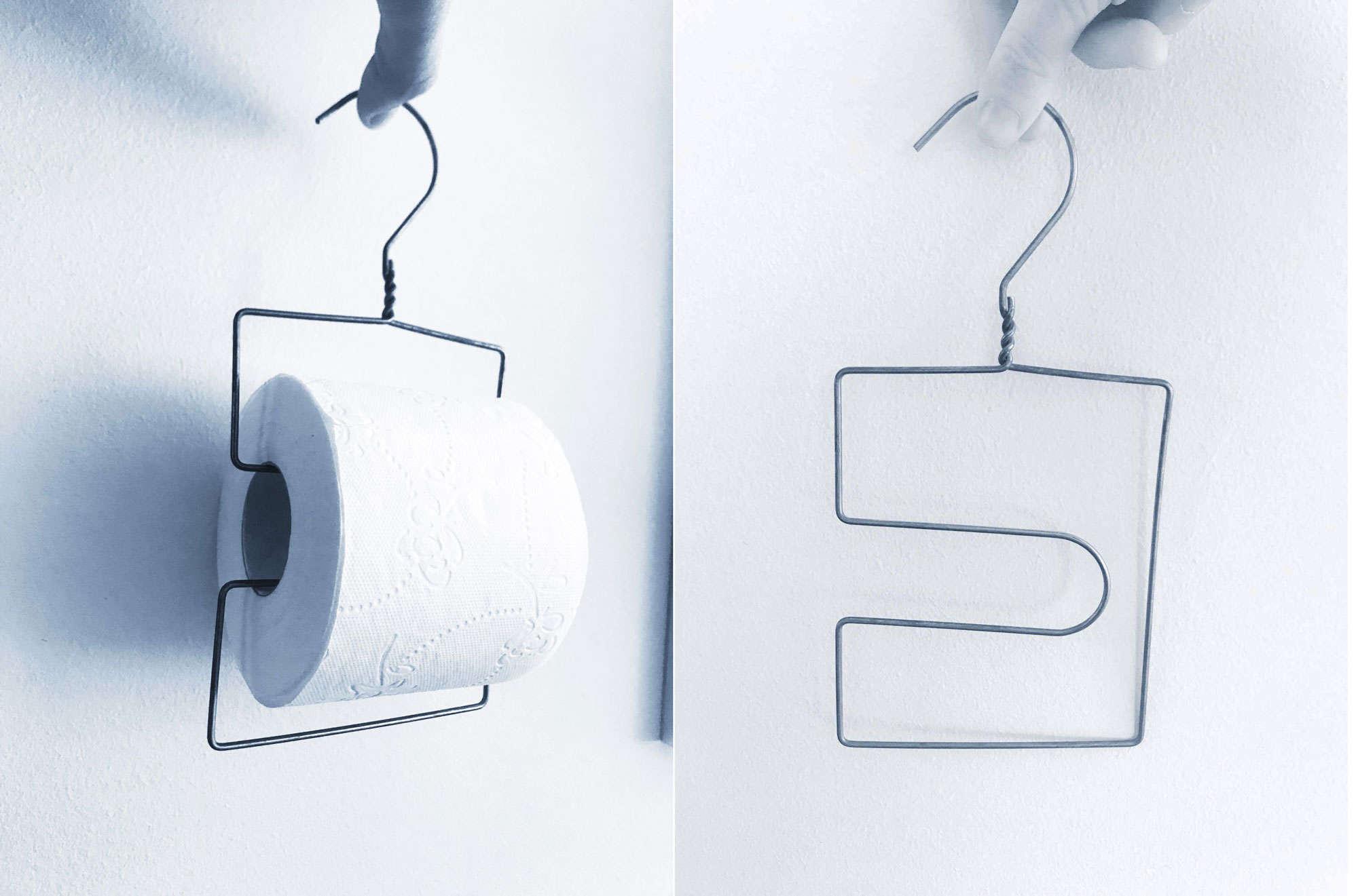 DIY: Gör en toarullehållare av en galge från kemtvätten