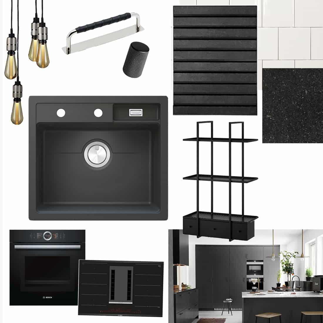 Renovera kök – moodboard och inspiration i 3 olika stilar : kakel till vitt kök med svart bänkskiva : Kök