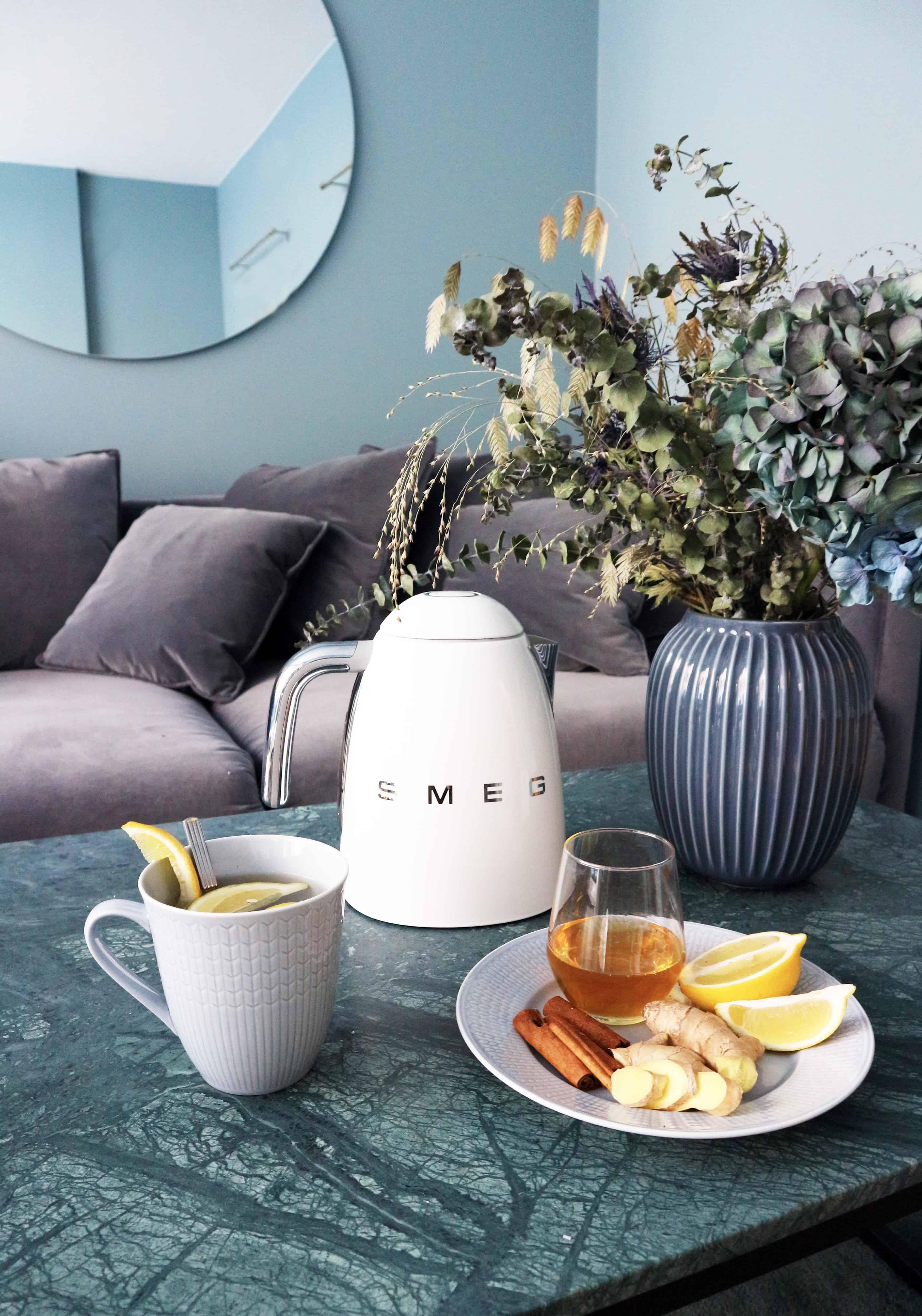 Hemmagjort te som lindrar förkylning.