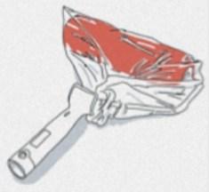 pensel och roller i plastpåse