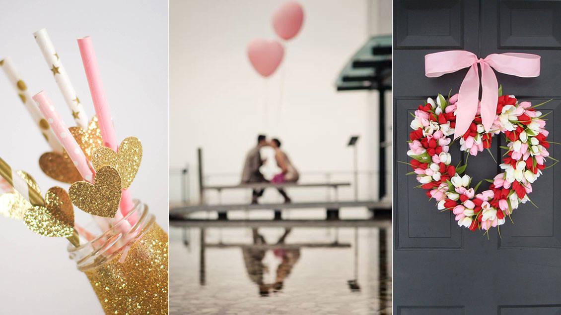 Collage av tre kärleksfulla dekorationer inför alla hjärtans dag.