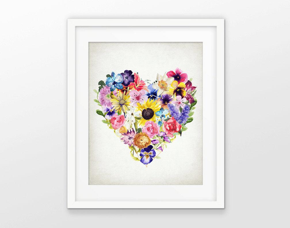 Poster med blommor i ett hjärta inför alla hjärtans dag.