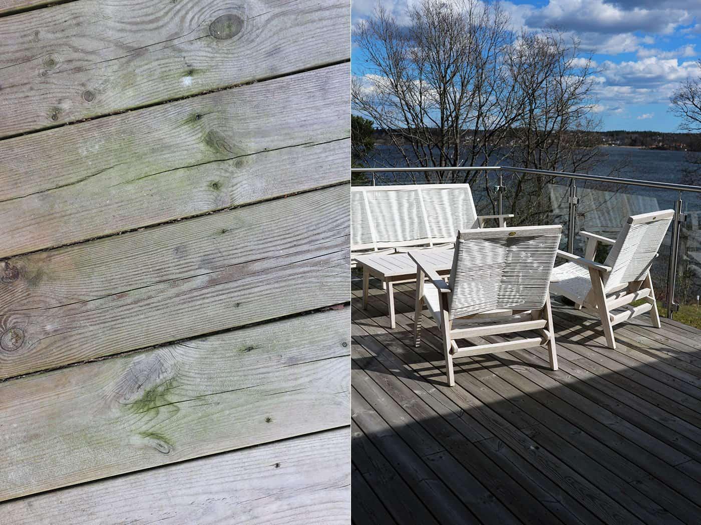 Före & efter olja trädäck på altan